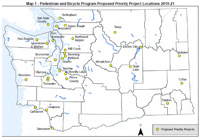 Map of WSDOT 2019 BPP Project Locations