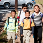 Students walking to school