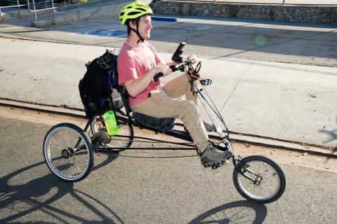 student on recumbent bike
