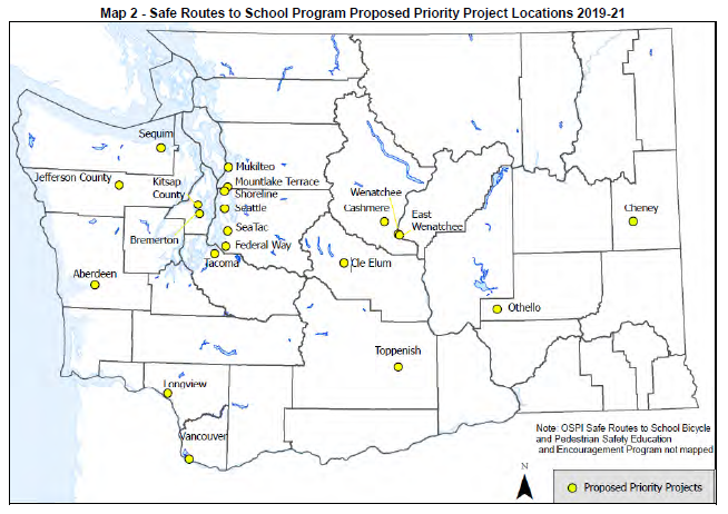Map of WSDOT 2019 SRTS Project Locations